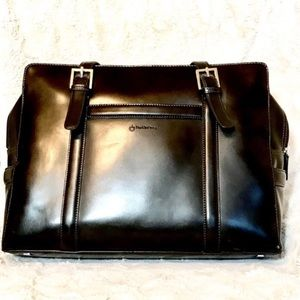 Franklin Covey black leather briefcase laptop bag